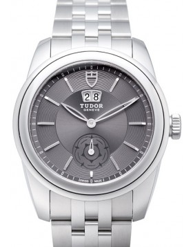 Fake Tudor Glamour Double Date 42mm Grey Dial Steel Strap Mens Watch
