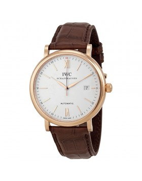 Fake IWC Portofino Silver Dial Rose Gold Automatic Mens Watch 3565-04