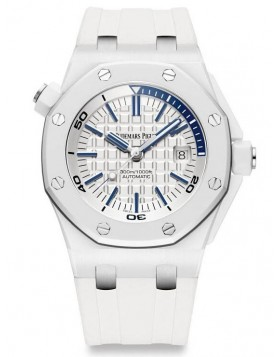 Fake Audemars Royal Oak Offshore Diver Piguet White Ceramic 15707CB.OO.A010CA.01