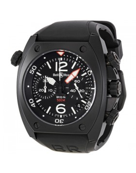 Replica Bell & Ross Marine Black Dial Chronograph 44MM Mens Watch BR0294-BL-CB