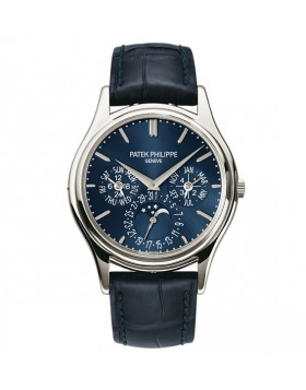 Replica Patek Philippe Grand Complications Blue Dial Platinum Blue Leather Mens Watch 5140P