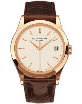 Replica Patek Philippe Calatrava Silver Dial 18kt Rose Gold Brown Leather Mens Watch 5296R-010