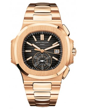 Replica Patek Philippe Nautilus Black Dial Chronograph Automatic Mens Watch 5980-1R-001