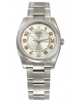 Fake Rolex Air king Silver Concentric Arabic Dial Mens Watch 114200SCOAO