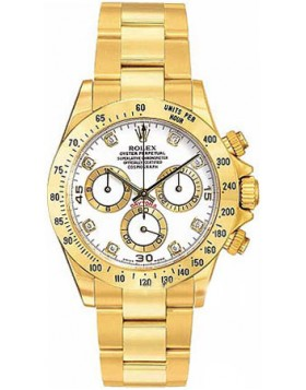 Fake Rolex Daytona White Diamond Dial Mens Watch 116528WDO