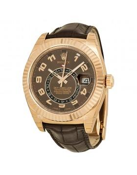 Fake Rolex Sky Dweller Brown Dial GMT Mens Watch 326135BRAL